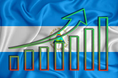 Nicaragua flag with a graph of price increases for the country's currency. Rising prices for shares of companies and cryptocurrencies. Economic recovery concept. 3D rendering