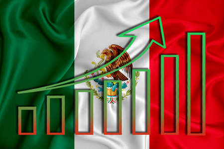 Mexico flag with a graph of price increases for the country's currency. Rising prices for shares of companies and cryptocurrencies. Economic recovery concept. 3D rendering