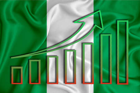 Nigeria flag with a graph of price increases for the country's currency. Rising prices for shares of companies and cryptocurrencies. Economic recovery concept. 3D rendering Banco de Imagens
