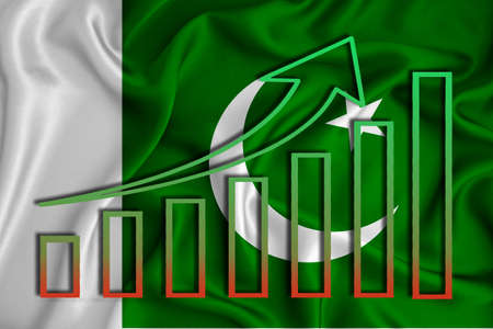 Pakistan flag with a graph of price increases for the country's currency. Rising prices for shares of companies and cryptocurrencies. Economic recovery concept. 3D rendering