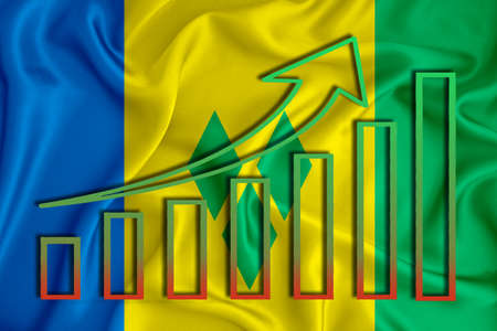 Saint Vincent and the Grenadines flag with a graph of price increases for the country's currency. Rising prices for shares of companies and cryptocurrencies. Economic recovery concept. 3D rendering