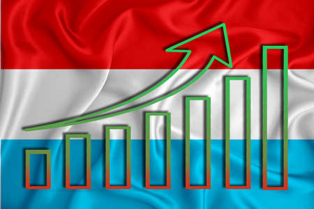 Luxembourg flag with a graph of price increases for the country's currency. Rising prices for shares of companies and cryptocurrencies. Economic recovery concept. 3D rendering Banco de Imagens