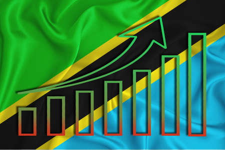 tanzania flag with a graph of price increases for the country's currency. Rising prices for shares of companies and cryptocurrencies. Economic recovery concept. 3D rendering