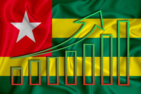 togo flag with a graph of price increases for the country's currency. Rising prices for shares of companies and cryptocurrencies. Economic recovery concept. 3D rendering