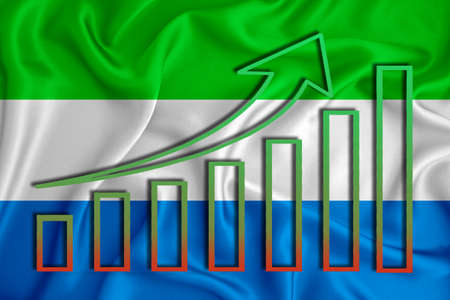 Sierra Leone flag with a graph of price increases for the country's currency. Rising prices for shares of companies and cryptocurrencies. Economic recovery concept. 3D rendering Stock fotó