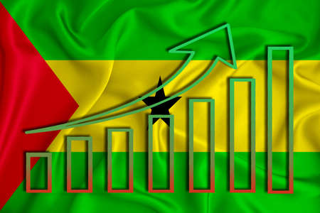 Sao Tome flag with a graph of price increases for the country's currency. Rising prices for shares of companies and cryptocurrencies. Economic recovery concept. 3D rendering Banco de Imagens