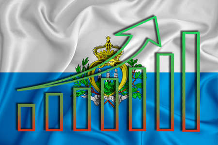 San Marino flag with a graph of price increases for the country's currency. Rising prices for shares of companies and cryptocurrencies. Economic recovery concept. 3D rendering Banco de Imagens