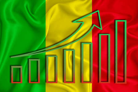 Mali flag with a graph of price increases for the country's currency. Rising prices for shares of companies and cryptocurrencies. Economic recovery concept. 3D rendering