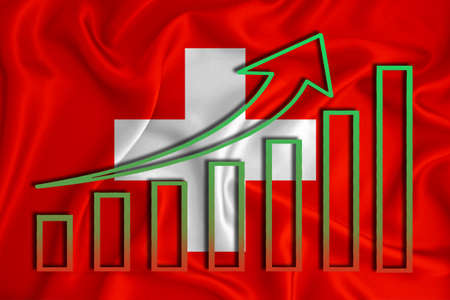 Switzerland flag with a graph of price increases for the country's currency. Rising prices for shares of companies and cryptocurrencies. Economic recovery concept. 3D rendering