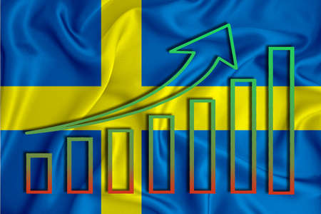 Sweden flag with a graph of price increases for the country's currency. Rising prices for shares of companies and cryptocurrencies. Economic recovery concept. 3D rendering
