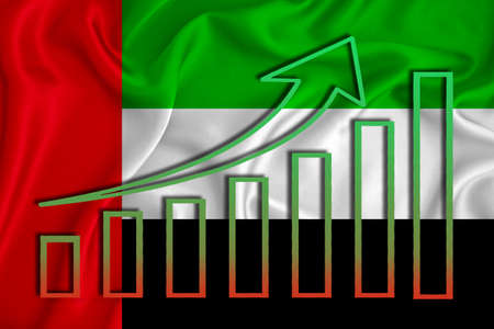 United Arab Emirates flag with a graph of price increases for the country's currency. Rising prices for shares of companies and cryptocurrencies. Economic recovery concept. 3D rendering