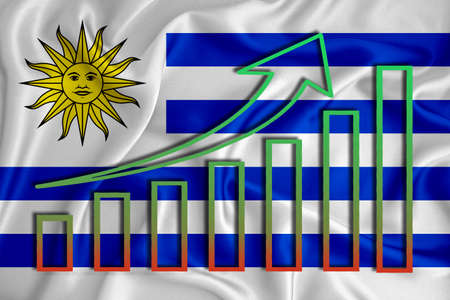 Uruguay flag with a graph of price increases for the country's currency. Rising prices for shares of companies and cryptocurrencies. Economic recovery concept. 3D rendering Banco de Imagens