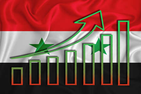 Syria flag with a graph of price increases for the country's currency. Rising prices for shares of companies and cryptocurrencies. Economic recovery concept. 3D rendering Stock fotó