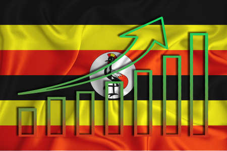 Uganda flag with a graph of price increases for the country's currency. Rising prices for shares of companies and cryptocurrencies. Economic recovery concept. 3D rendering Stock fotó