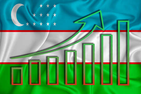 Uzbekistan flag with a graph of price increases for the country's currency. Rising prices for shares of companies and cryptocurrencies. Economic recovery concept. 3D rendering Banco de Imagens