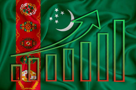 turkmenistan flag with a graph of price increases for the country's currency. Rising prices for shares of companies and cryptocurrencies. Economic recovery concept. 3D rendering Stock fotó
