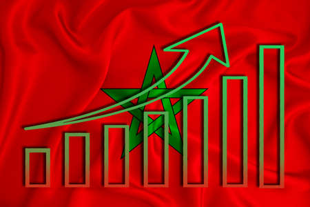 Morocco flag with a graph of price increases for the country's currency. Rising prices for shares of companies and cryptocurrencies. Economic recovery concept. 3D rendering Banco de Imagens
