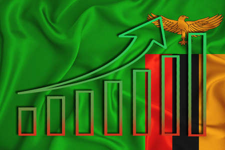 Zambia flag with a graph of price increases for the country's currency. Rising prices for shares of companies and cryptocurrencies. Economic recovery concept. 3D rendering