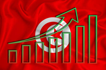 Tunisia flag with a graph of price increases for the country's currency. Rising prices for shares of companies and cryptocurrencies. Economic recovery concept. 3D rendering