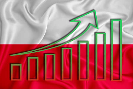 Poland flag with a graph of price increases for the country's currency. Rising prices for shares of companies and cryptocurrencies. Economic recovery concept. 3D rendering