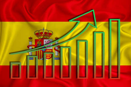 Spain flag with a graph of price increases for the country's currency. Rising prices for shares of companies and cryptocurrencies. Economic recovery concept. 3D rendering