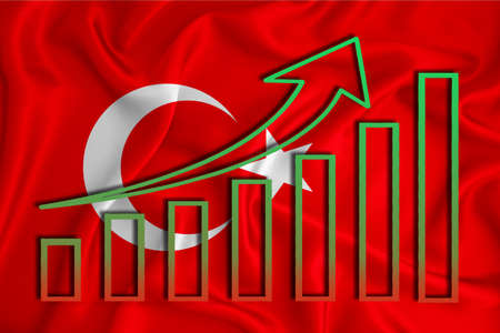 Turkey flag with a graph of price increases for the country's currency. Rising prices for shares of companies and cryptocurrencies. Economic recovery concept. 3D rendering