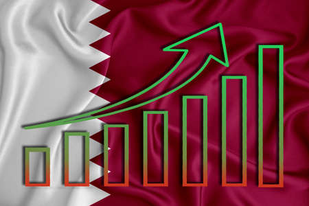 qatar flag with a graph of price increases for the country's currency. Rising prices for shares of companies and cryptocurrencies. Economic recovery concept. 3D rendering