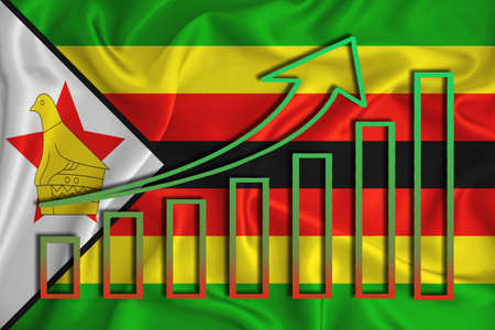 Zimbabwe flag with a graph of price increases for the country's currency. Rising prices for shares of companies and cryptocurrencies. Economic recovery concept. 3D rendering Banco de Imagens