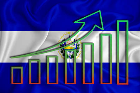 Salvador flag with a graph of price increases for the country's currency. Rising prices for shares of companies and cryptocurrencies. Economic recovery concept. 3D rendering