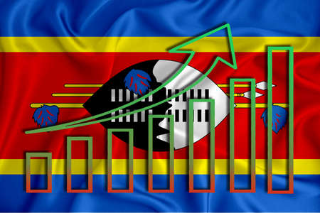 swaziland flag with a graph of price increases for the country's currency. Rising prices for shares of companies and cryptocurrencies. Economic recovery concept. 3D rendering