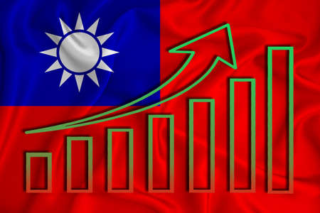 Taiwan flag with a graph of price increases for the country's currency. Rising prices for shares of companies and cryptocurrencies. Economic recovery concept. 3D rendering Banco de Imagens
