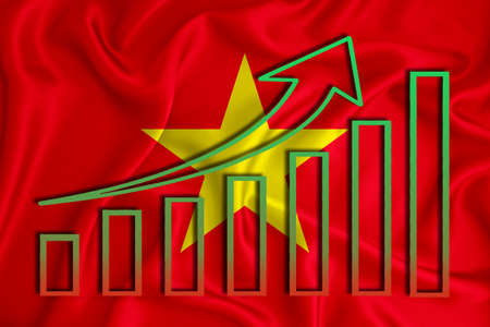 Vietnam flag with a graph of price increases for the country's currency. Rising prices for shares of companies and cryptocurrencies. Economic recovery concept. 3D rendering