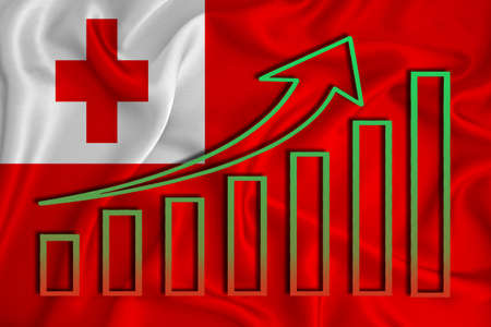 tonga flag with a graph of price increases for the country's currency. Rising prices for shares of companies and cryptocurrencies. Economic recovery concept. 3D rendering Banco de Imagens