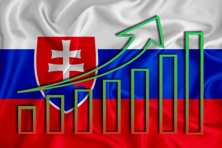 Slovakia flag with a graph of price increases for the country's currency. Rising prices for shares of companies and cryptocurrencies. Economic recovery concept. 3D rendering