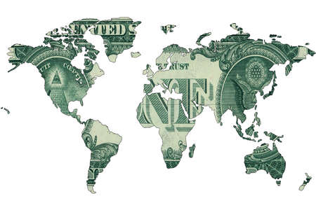 World map isolated on white background. Flat earth, gray card template for website template. Dollar bills are shown inside the card template. 3d-rendering.