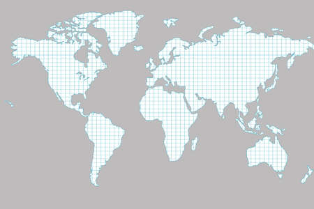 World map isolated on white background. Flat earth, gray card template for website template. Inside the card template, there is a sheet of a notebook in a box. 3d-rendering.
