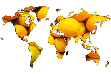 World map isolated on white background. Flat earth, gray card template for website template. Yellow mandarins are depicted inside the card template. 3d-rendering.