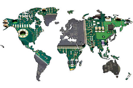 World map isolated on white background. Flat earth, gray card template for website template. A printed circuit board with microcircuits is shown inside the card template. 3d-rendering.