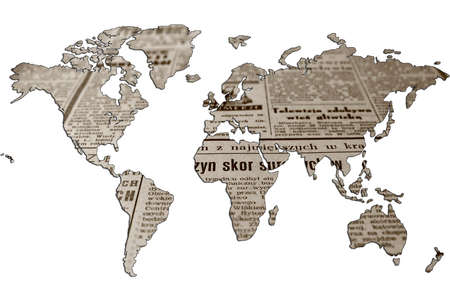 World map isolated on white background. Flat earth, gray card template for website template. An old newspaper is shown inside the card template. 3d-rendering.