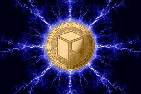 Gold coin neo cryptocurrency physical concept on a dark background with lightning around. 3D rendering Banco de Imagens
