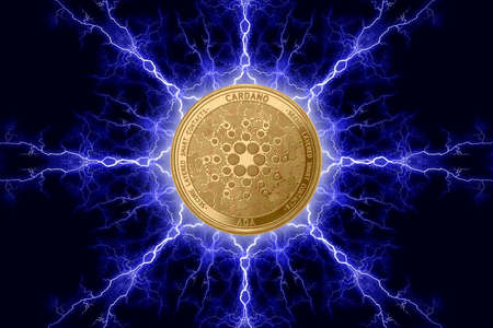 Gold coin cardano cryptocurrency physical concept on a dark background with lightning around. 3D rendering