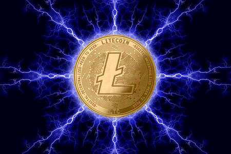 Gold coin litecoin cryptocurrency physical concept on a dark background with lightning around. 3D rendering Banco de Imagens