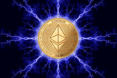 Gold coin etherium cryptocurrency physical concept on a dark background with lightning around. 3D rendering