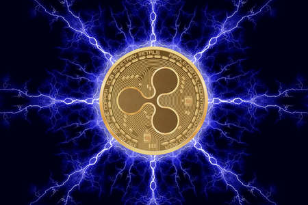 Gold coin ripple cryptocurrency physical concept on a dark background with lightning around. 3D rendering