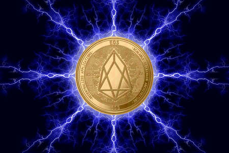 Gold coin eos cryptocurrency physical concept on a dark background with lightning around. 3D rendering