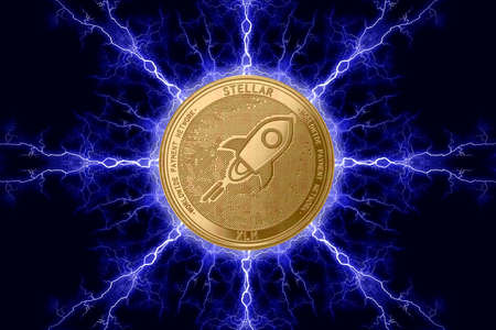Gold coin stellar cryptocurrency physical concept on a dark background with lightning around. 3D rendering Banco de Imagens