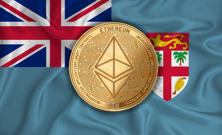 Fiji flag, ethereum gold coin on flag background. The concept of blockchain, bitcoin, currency decentralization in the country. 3d-rendering