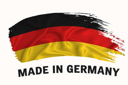 Made in germany handwritten vintage ribbon flag, brush stroke, typography lettering logo label banner on white background.