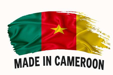 Made in Cameroon handwritten vintage ribbon flag, brush stroke, typography lettering logo label banner on white background.