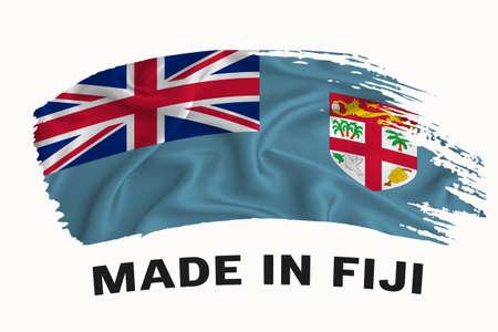 Made in Fiji handwritten vintage ribbon flag, brush stroke, typography lettering logo label banner on white background. Stock fotó